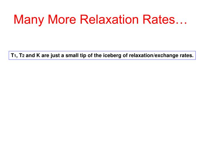 Many More Relaxation Rates…