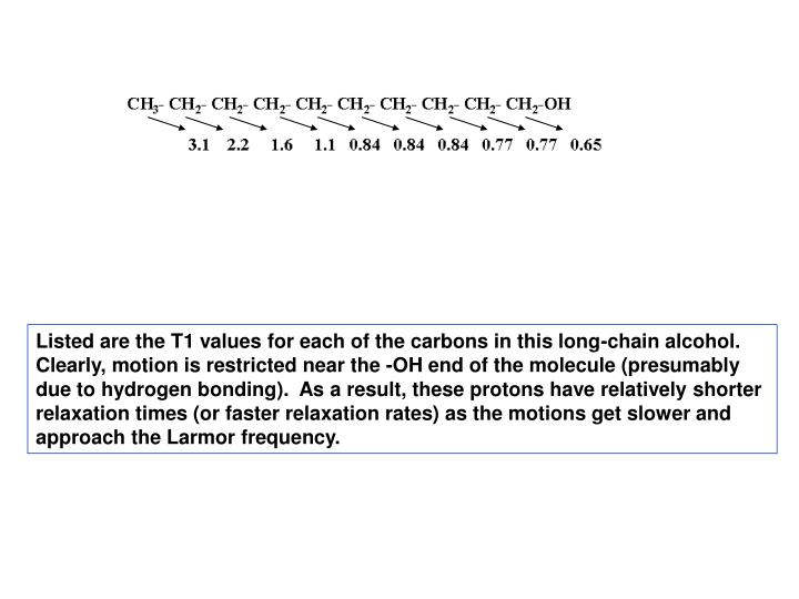 Listed are the T1 values for each of the carbons in this long-chain alcohol.