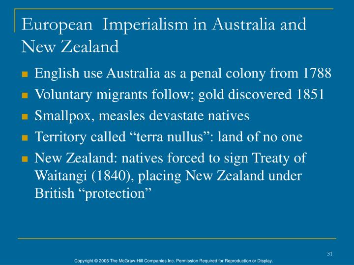 European  Imperialism in Australia and New Zealand