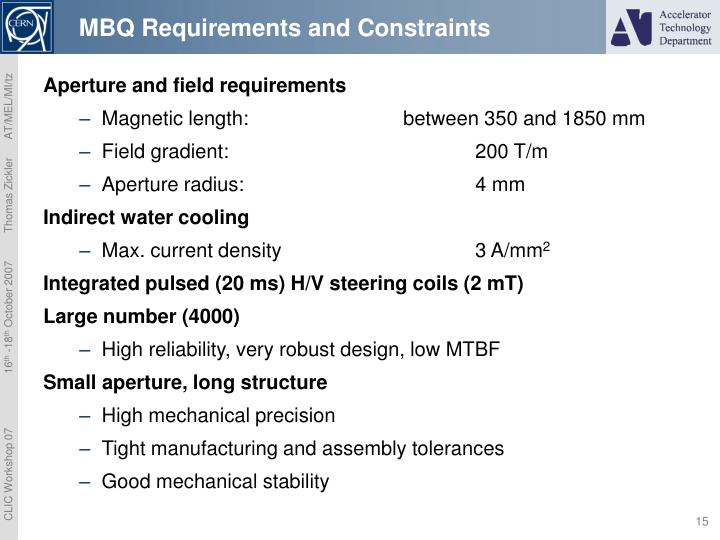 MBQ Requirements and Constraints