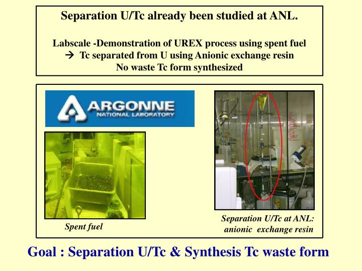 Separation U/Tc already been studied at ANL.