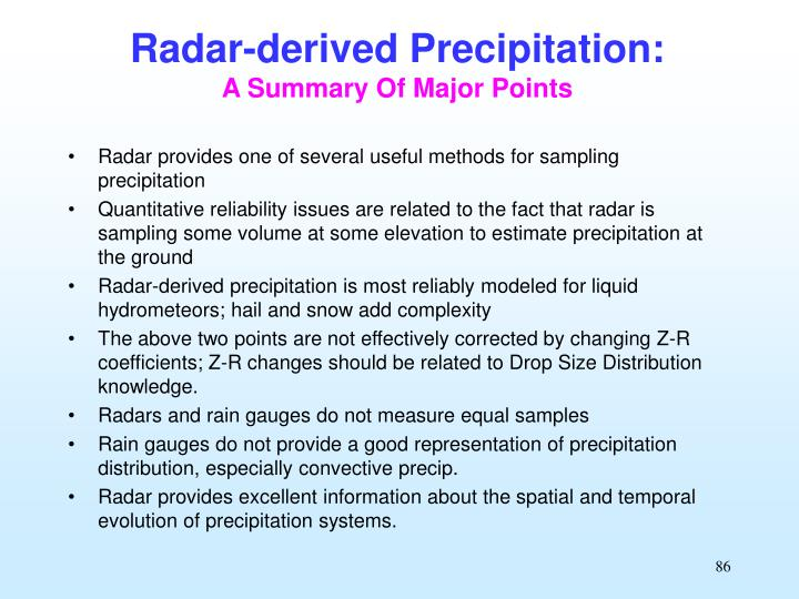 Radar-derived Precipitation: