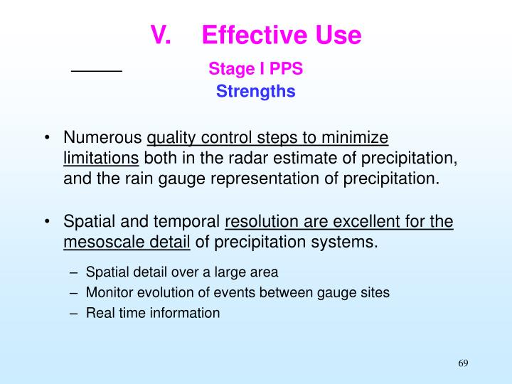 V effective use stage i pps strengths