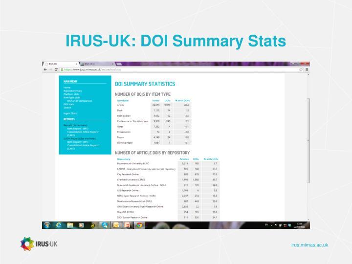 IRUS-UK: DOI Summary Stats