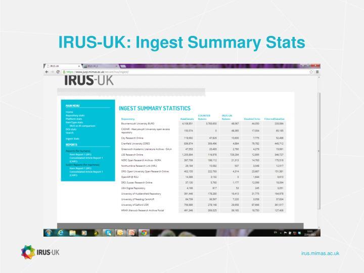 IRUS-UK: Ingest Summary Stats