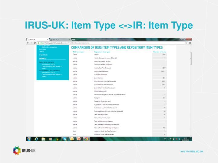 IRUS-UK: Item Type <->IR: Item Type
