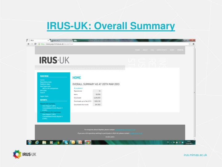 IRUS-UK: Overall Summary
