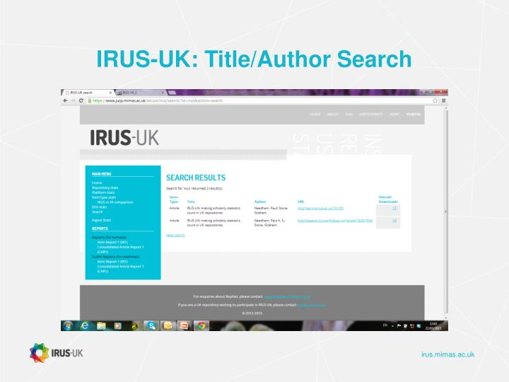 IRUS-UK: Title/Author Search