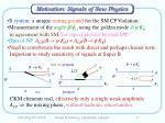motivation signals of new physics