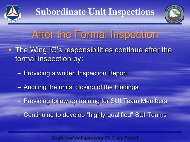 Subordinate Unit Inspections