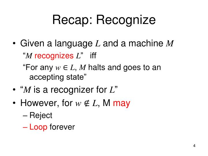 Recap: Recognize