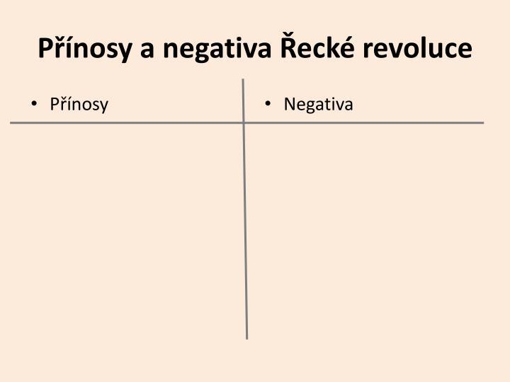 Přínosy a negativa Řecké revoluce