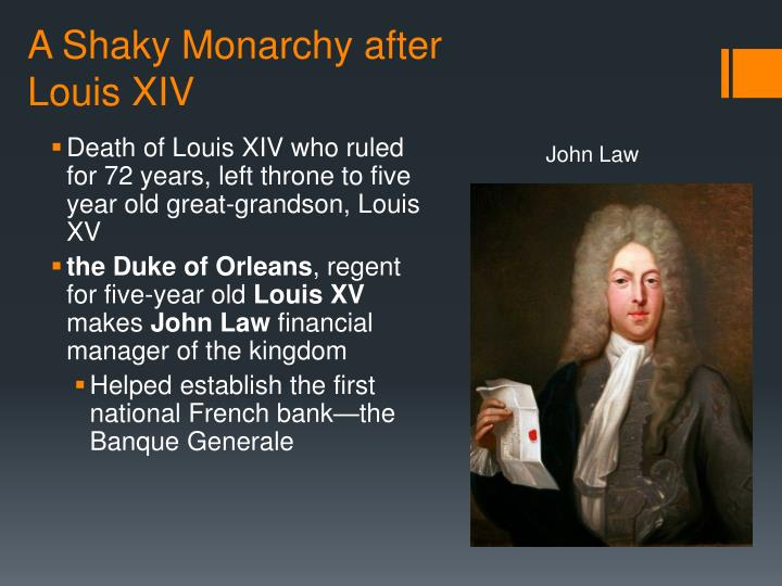 A shaky monarchy after louis xiv