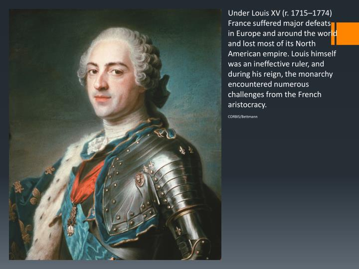 Under Louis XV (r. 1715–1774) France suffered major defeats