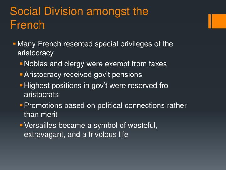 Social Division amongst the French