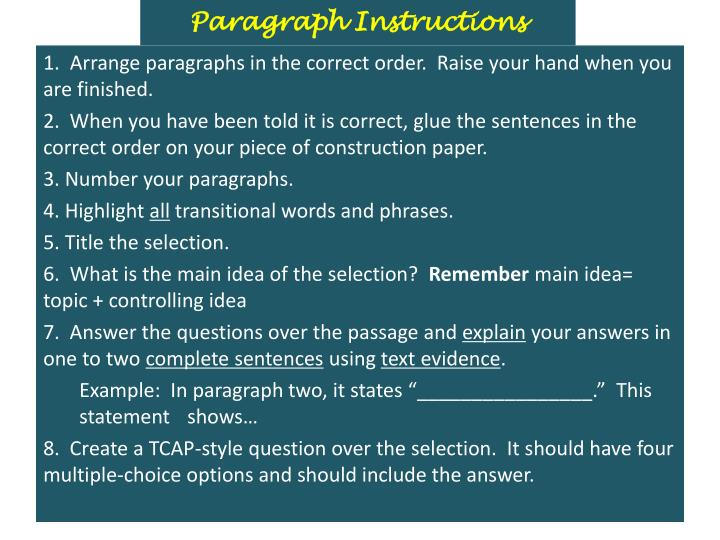 Paragraph Instructions