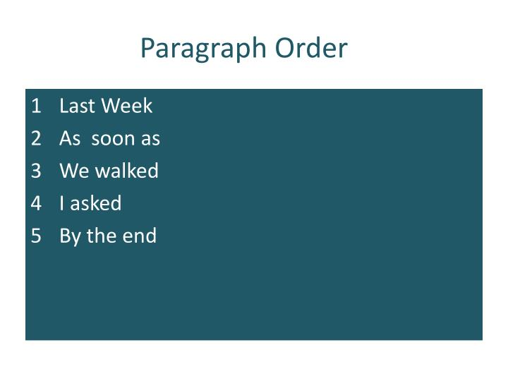 Paragraph Order