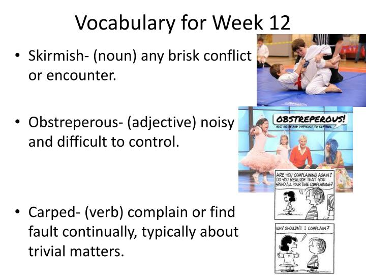 Vocabulary for Week 12