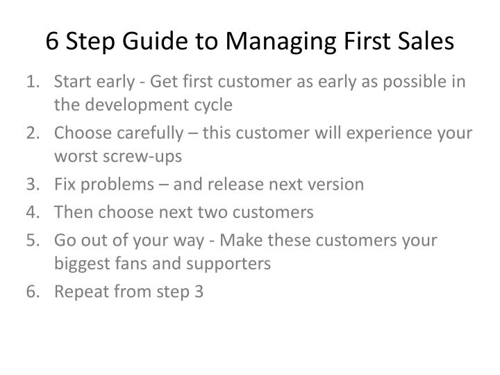 6 Step Guide to Managing First Sales