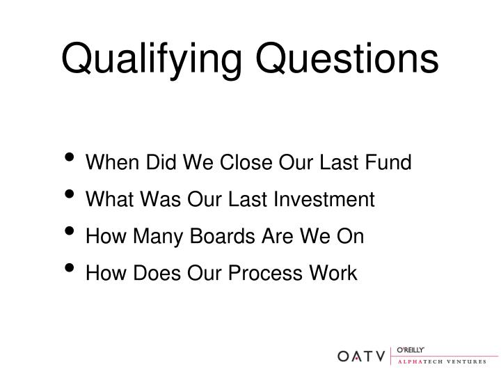 Qualifying Questions
