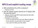 mpls and explicit routing recap