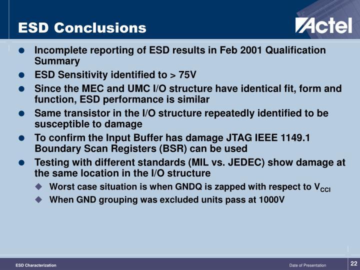 ESD Conclusions