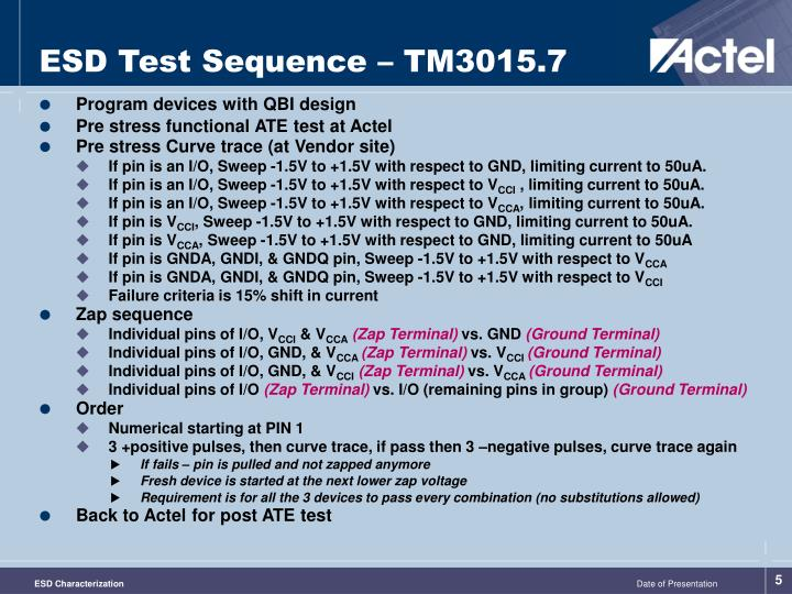 ESD Test Sequence – TM3015.7