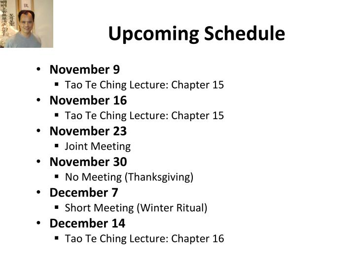Upcoming Schedule