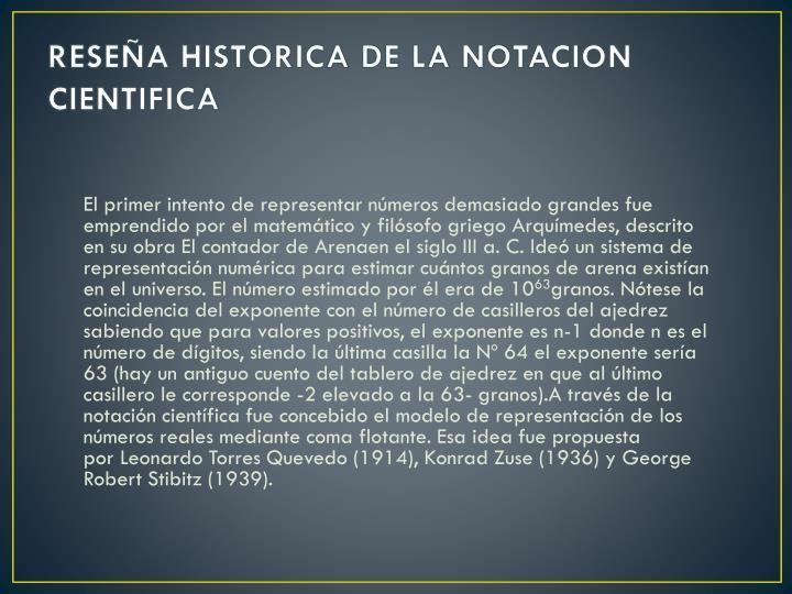 RESEÑA HISTORICA DE LA NOTACION CIENTIFICA