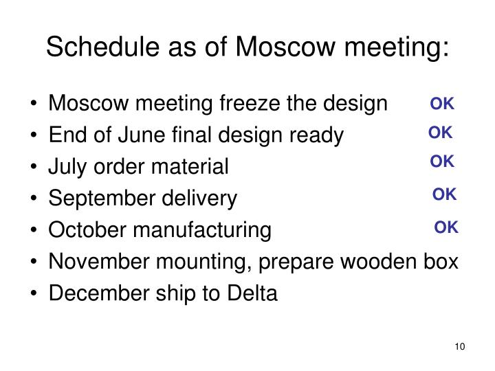 Schedule as of Moscow meeting: