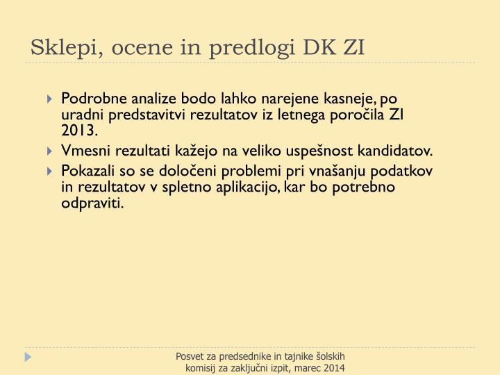 Sklepi, ocene in predlogi DK ZI