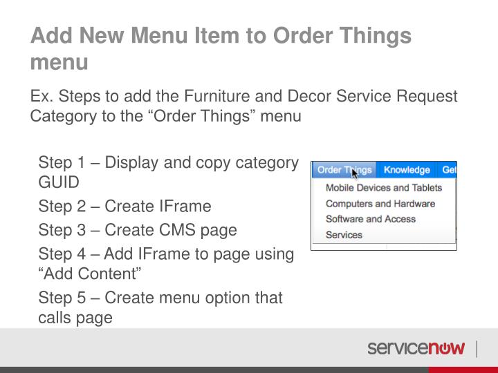 Add New Menu Item to Order Things menu