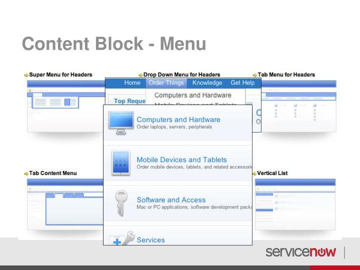 Content Block - Menu