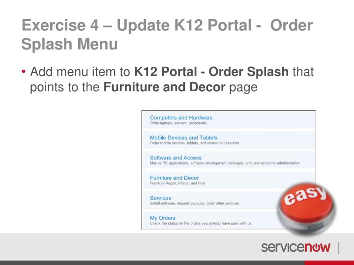 Exercise 4 – Update K12 Portal -  Order Splash Menu