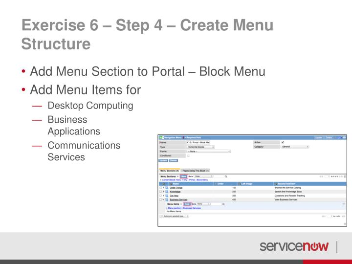 Exercise 6 – Step 4 – Create Menu Structure
