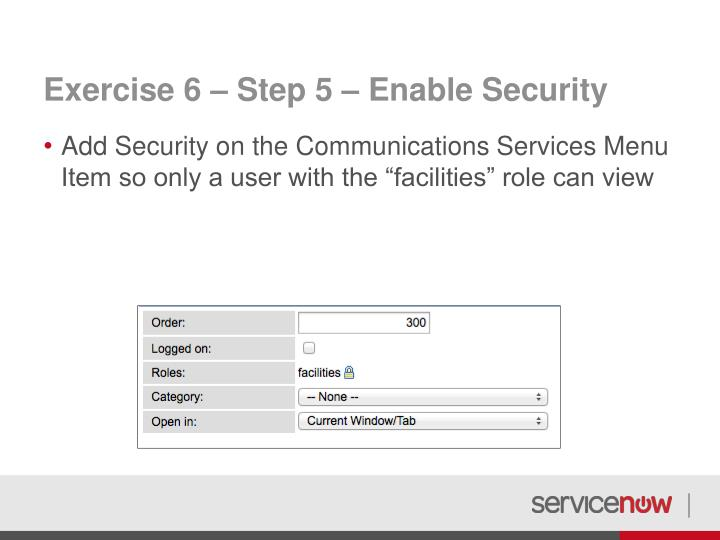 Exercise 6 – Step 5 – Enable Security