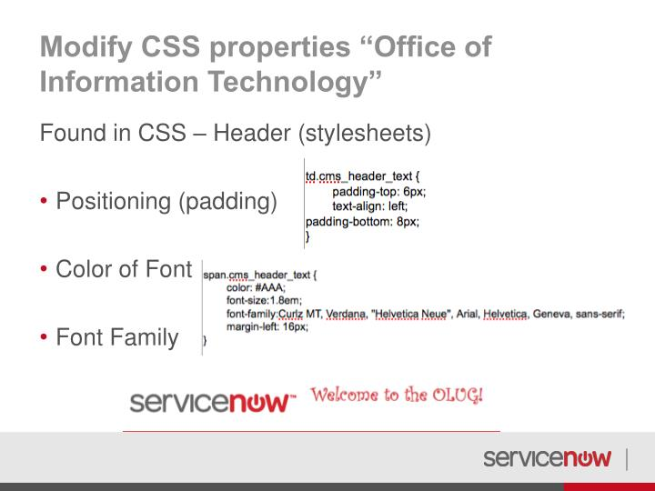 "Modify CSS properties ""Office of Information Technology"""