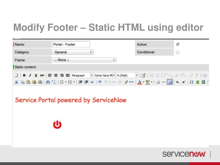 Modify Footer – Static HTML using editor