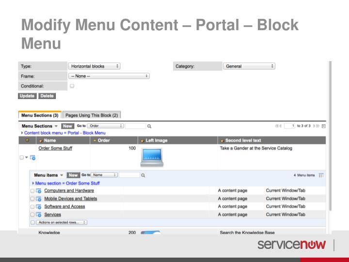 Modify Menu Content – Portal – Block Menu