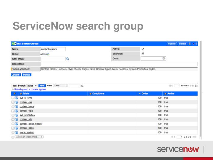 ServiceNow search group