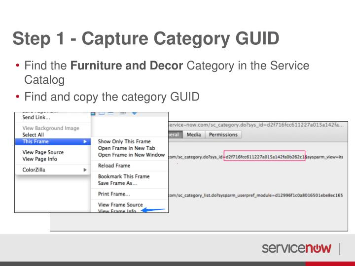 Step 1 - Capture Category GUID