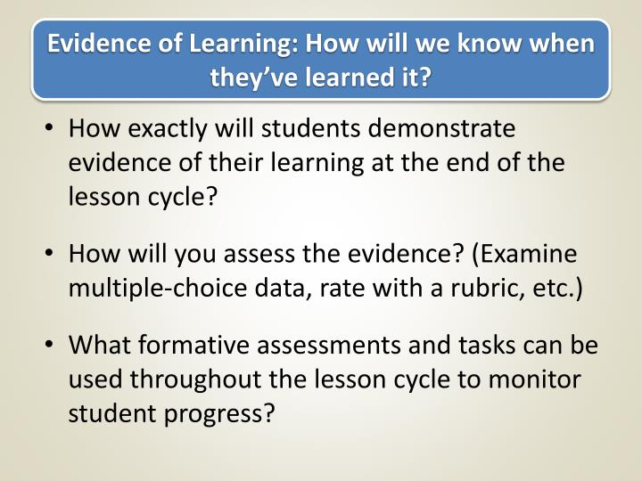 Evidence of Learning: How will we know when they've learned it?