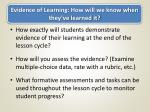 evidence of learning how will we know when they ve learned it