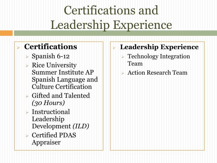 Certifications and