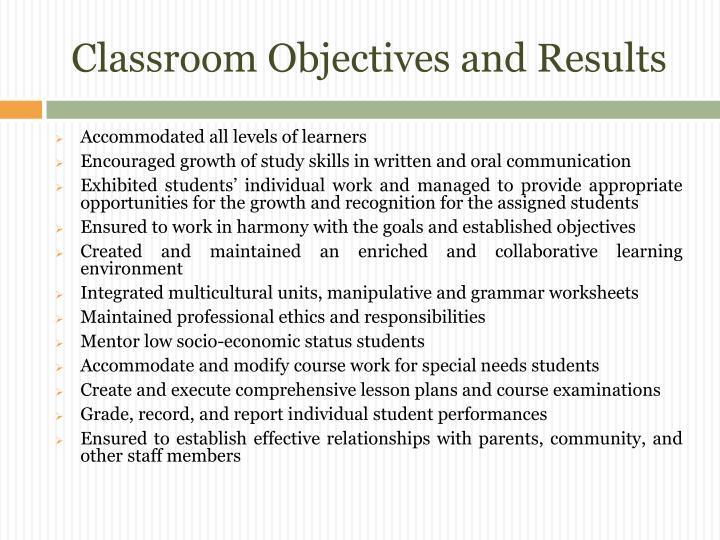 Classroom Objectives