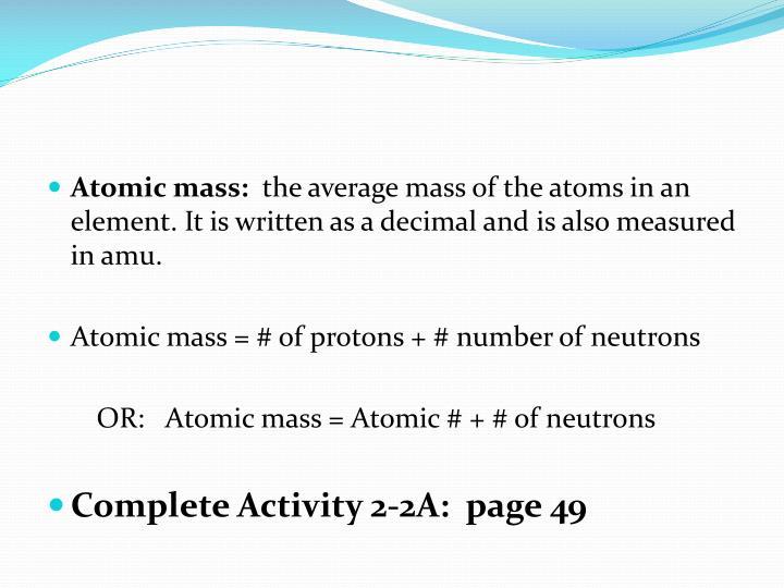 Atomic mass: