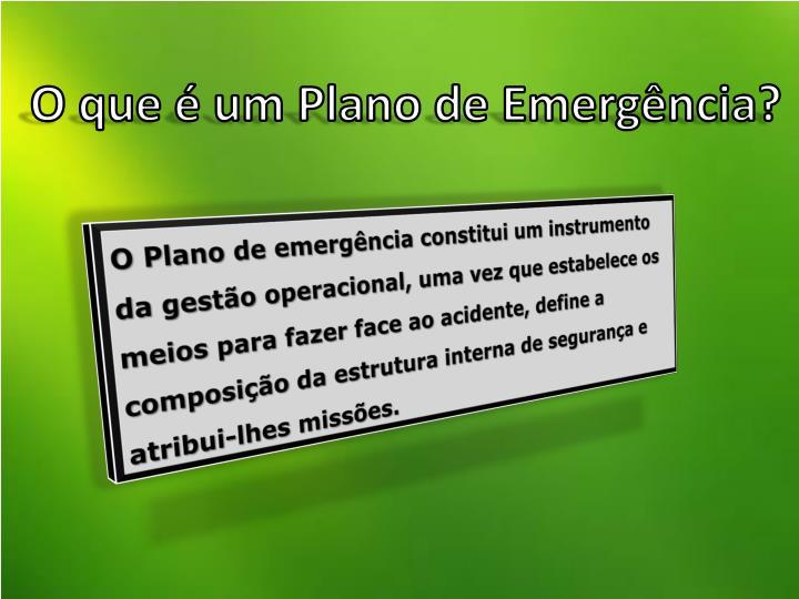 O que é um Plano de Emergência?