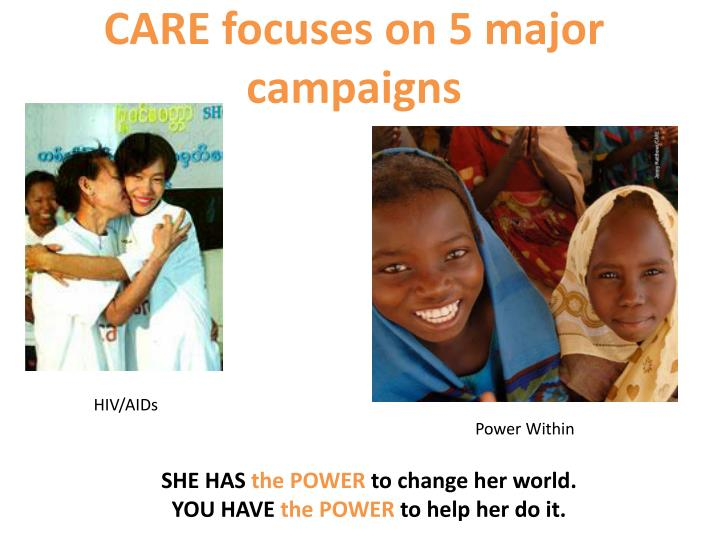 CARE focuses on 5 major campaigns