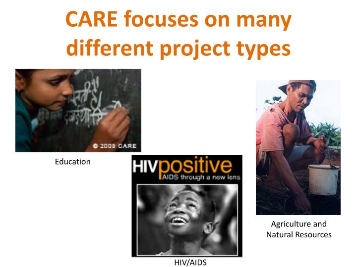 CARE focuses on many different project types