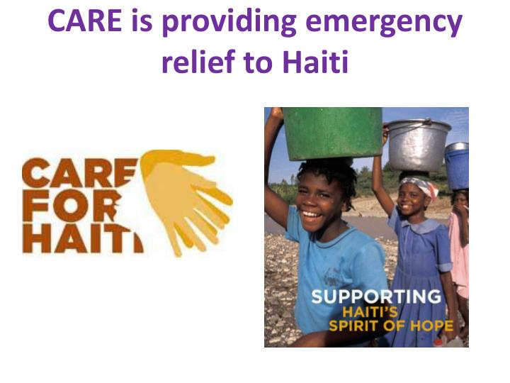 CARE is providing emergency relief to Haiti